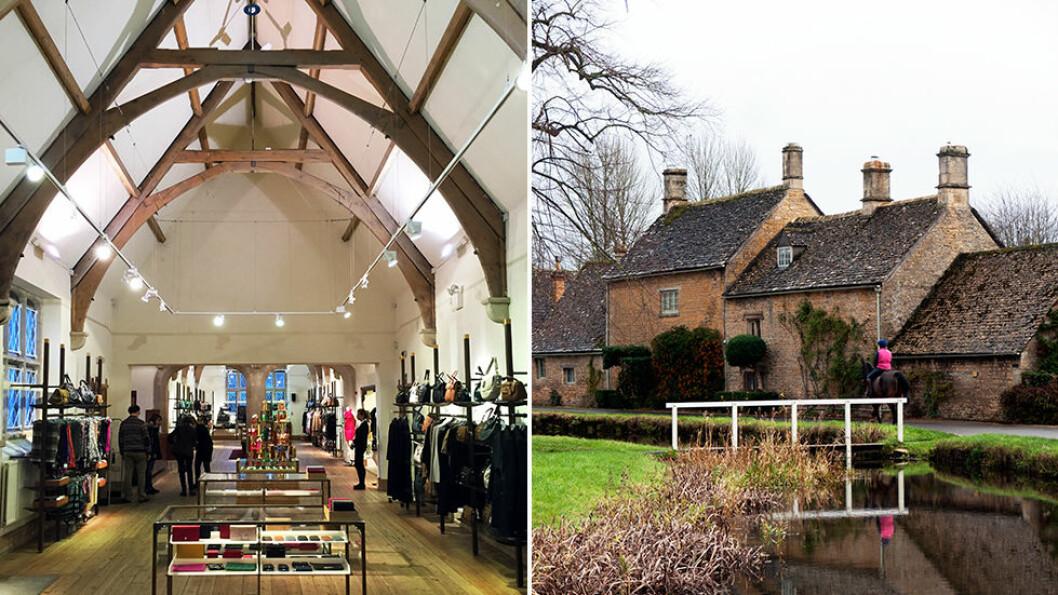 TYPISK ENGELSK: Mulberry er et britisk luksusmerke med fabrikkutsalg i en gammel kirke (t.v.). Lower Slaughter (t.h.) er en av mange små, sjarmerende landsbyer.
