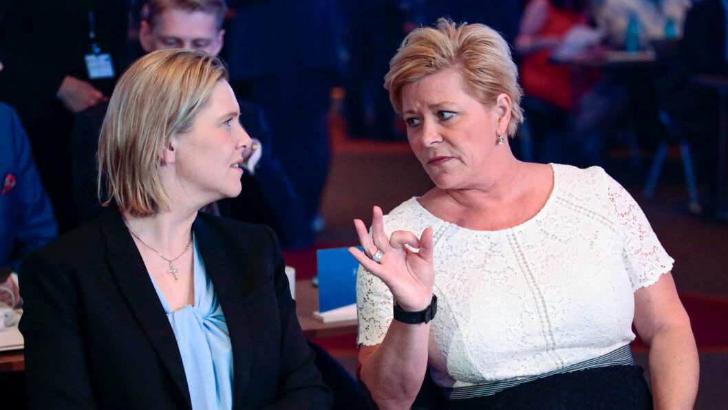 MER VEI: Sylvi Listhaug og Siv Jensen krever penger til samferdsel i revidert nasjonalbudsjett og den tredje koronapakken. Foto: NTB / scanpix