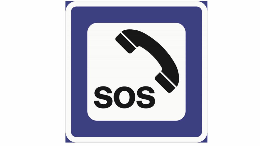 NØDTELEFON: Serviceskiltet for nødtelefon varsles med et gammeldags telefonrør.