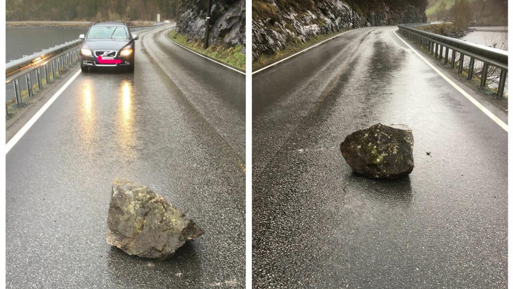 130 KG: Denne steinen raste ned på veibanen på E16 gjennom Valdres i forrige uke. Foto: Lars-Ådne Schlytter