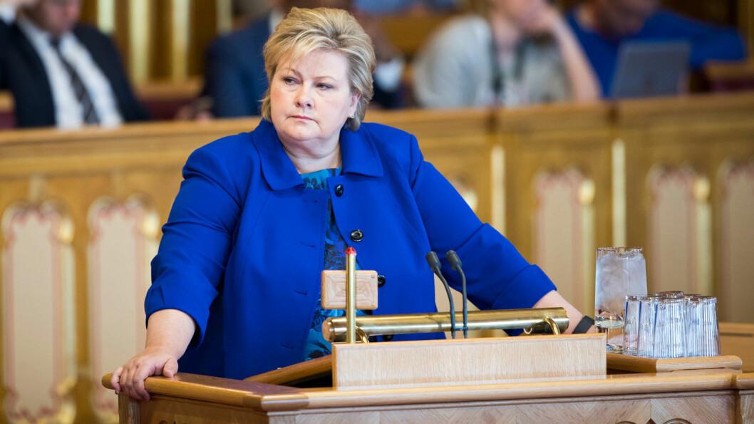 NIKS: Statsminister Erna Solberg vil ikke ha moms på elbiler – i hvert fall ikke ennå. Foto: Stortinget
