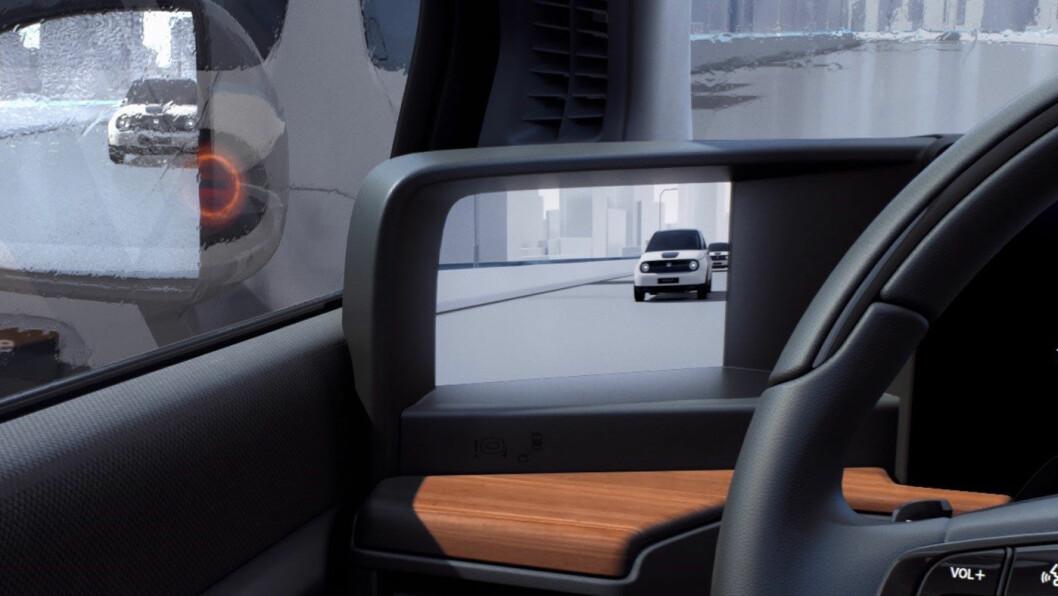 FRAMTID NÅ: Kameraspeil blir standard på Hondas nye lille elektrisk bil. Teknologien skal gi en rekke fordeler. Viktigere saker som pris og rekkevidde er foreløpig ikke kjent. Men norske kunder kan allerede reservere bilen. Foto: Honda Motor
