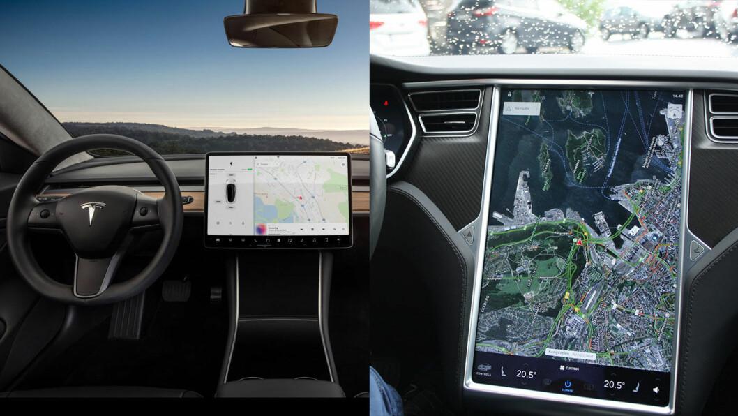 ENDRINGER PÅ GANG: Tesla Model S har ikke forandret seg mye på sju år, og mindre innvendig enn utvendig. Nå kommer det trolig store interiørmessige endringer. Her er interiøret på Model 3 til venstre, og et utsnitt av førermiljøet på Model S til høyre.