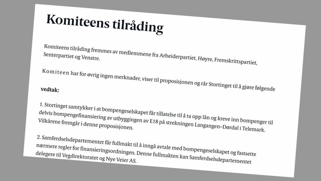 SVART PÅ HVITT: Dette mener Stortingsflertallet om bompenger på E18 mellom Langangen og Dørdal –i hvert fall helt til Frp har hatt sitt neste ekstraordinære landsstyremøte.