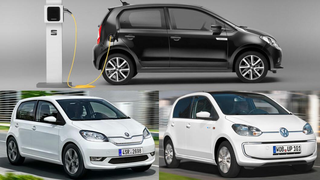 TRIPP, TRAPP, TRESKO: Skoda Citigo-e iV (nede t.v.), VW e-Up! og SEAT Mii electric (øverst).