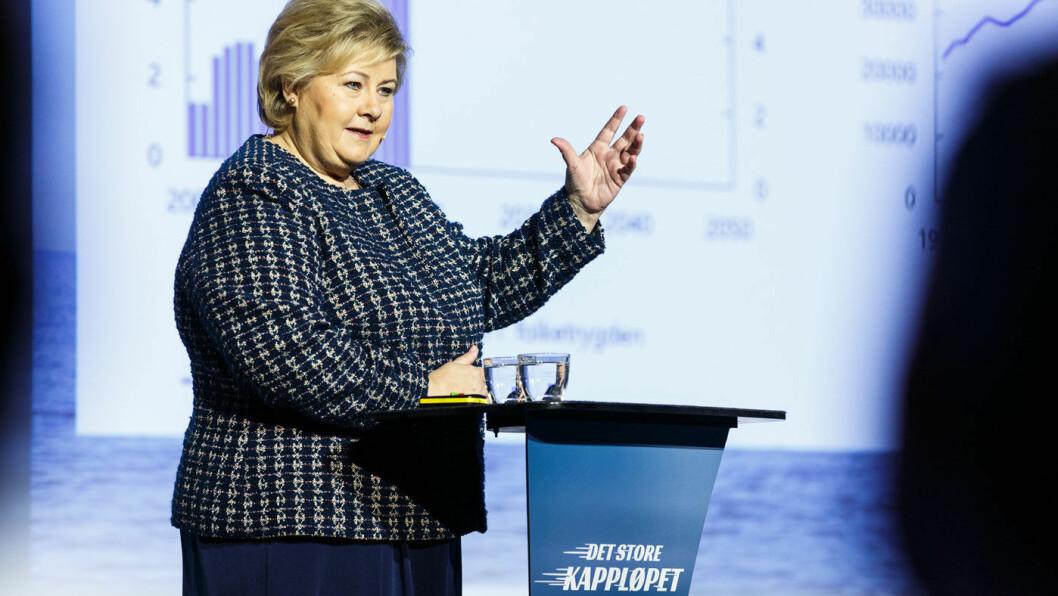 SKAL DRØFTE: Statsminister Erna Solberg (H) varsler samtaler med de tre øvrige regjeringspartiene om bompengesaken. Foto: SMK