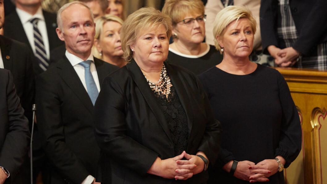 BOMPENGEDRONNINGER: Med Erna Solberg som statsminister og Siv Jensen som finansminister er det vedtatt bompenger i Stortinget som koster hver bilist over 93.000 kroner. Foto: Stortinget