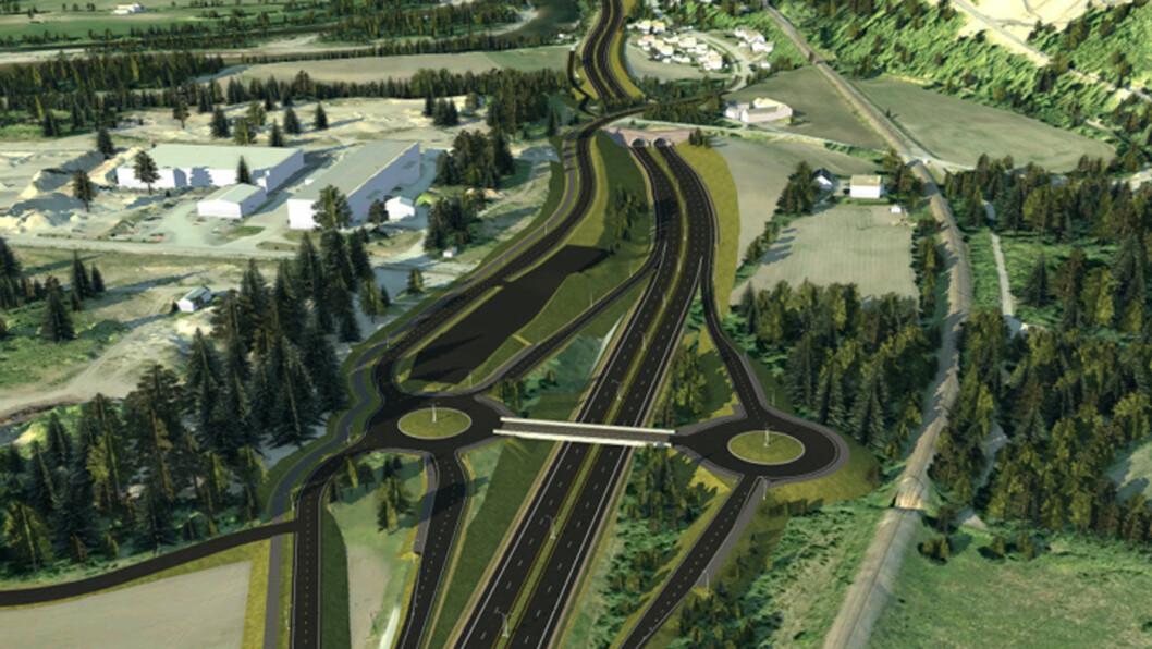 SIDEVEISBOMMER: Slik blir nye E6 sør for Melhus. I tillegg til bommer på den nye motorveien, blir det også bommer på sideveiene. Foto: Nye Veier