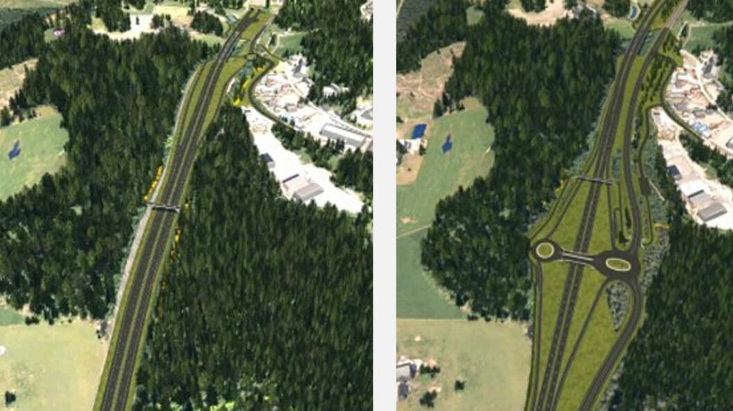 UENIGE: Nye Veier vil bygge kryss som illustrasjonen til venstre viser, mens vegvesenet som fagmyndighet vil at det skal bygges kryss som illustrasjonen til høyre viser. Illustrasjon: Statens vegvesen og Nye veier.