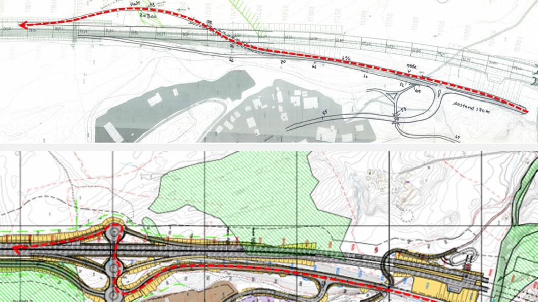 LØSNINGENE I PRAKSIS: Den røde streken og pilen viser hvordan man må kjøre inn på E18 sørover dersom man kommer fra rv. 36. Nederst er vegvesenets løsning, øve er Nye Veiers løsning. Illustrasjon: Nye Veier