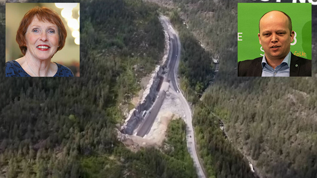 FORSVARER PENGEBRUKEN: Her er veistrekningen hvor Kongsberg-ordfører Kari Anne Sand (innfelt til venstre) og Sp-leder Trygve Slagsvold Vedum vil bruke 10 millioner på å flytte en bom.