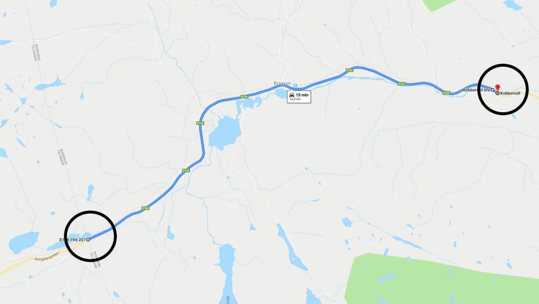 15 KILOMETER: Senterpartileder Trygve Slagsvold Vedum vil flytte en bomstasjon 15 kilometer, fra den nye motorveien i sirkelen til høyre til fylkesgrensa, sirkelen til venstre