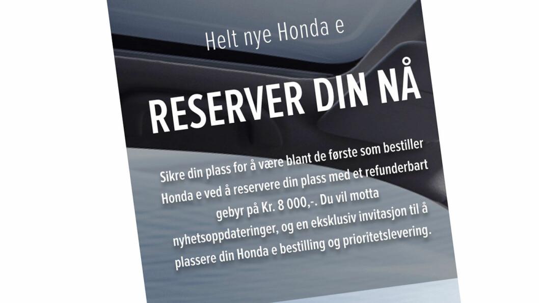 BOOKES NÅ: Honda e kan bestilles på en mobil. Foto: Skjermdump