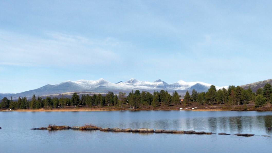 RONDANE: Utsikt mot Rondane fra fjellvannet Orvillingen like før vi kommer til Rondablikk. Foto: Reidar Stangenes