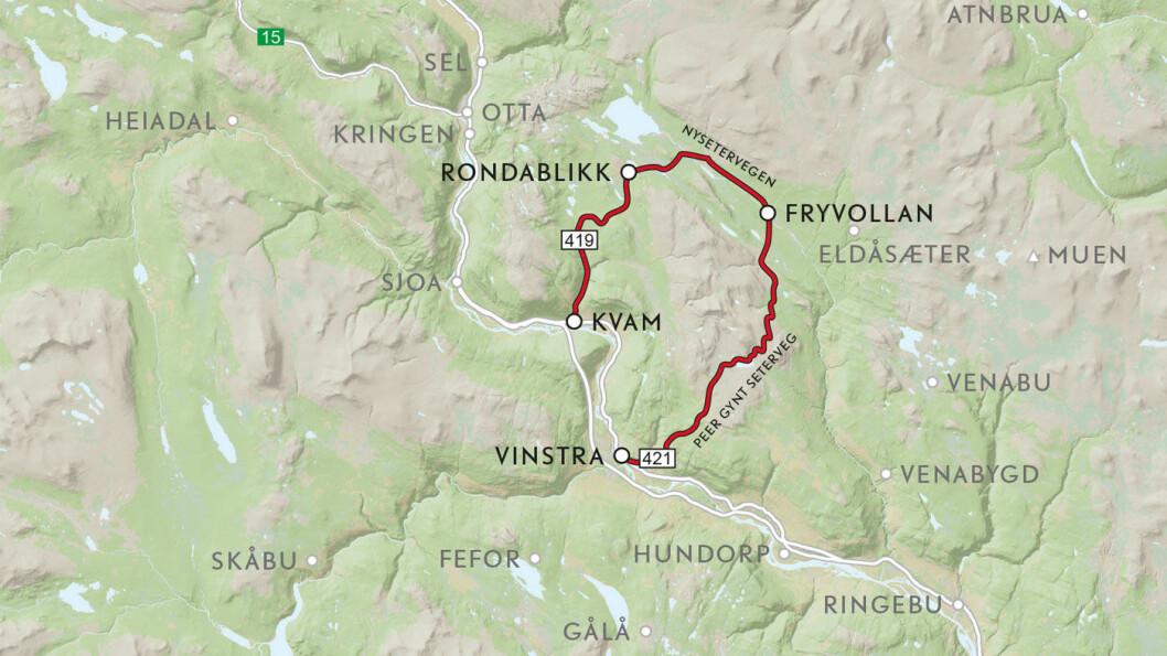 VEIFAKTA: På Vinstrasida, opp Sødorpbygda, kjører vi på FV421. Bomvei innover fjellet er ikke nummerert. Fra Rondablikk til Kvam følger vi FV419. Strekningen er ca. 50 km og kjøretiden er 1 time og 20 minutter ifølge NAF Ruteplanlegger.