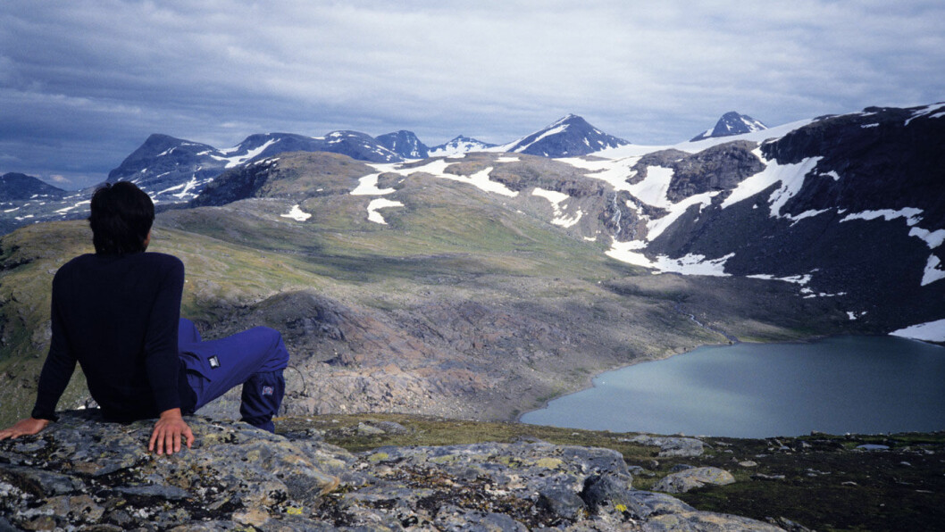 MEKTIG: Villmarksveien i Nordland bringer deg tett opp til det mektige fjellpartiet Okstindan. Foto: Per Roger Lauritzen
