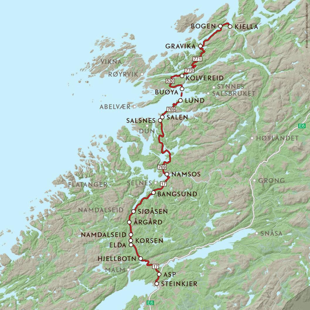 VEIFAKTA: Denne ruta starter fra E6 nord for Steinkjer og følger FV17 til Namsos. Derfra FV769 til Nærøy og så FV770 og 771 til Bindal kommune i Nordland. Den siste biten til Kjella og FV17 igjen går på FV802. Strekningen mellom Steinkjer og Kjella langs denne ruta er ca. 186 km og kjøretiden er 3 timer og 34 minutter, ikke inkludert fergeturen ifølge NAF Ruteplanlegger.