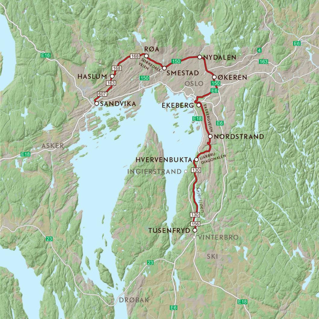 VEIFAKTA: Denne ruta starter i Oppegård og følger Gamle Mossevei fra der E6 og E18 skiller lag nord for Tusenfryd. Den fortsetter på Ljansbrukveien inn i Oslo og går over på Herregårdsveien til Ljabruveien. Så svinger den inn på Ekebergveien som den følger helt til Valhallveien ned til E6. Videre går turen langs Ringveien til Smestadkrysset og på FV168 forbi Røa og inn i Bærum til Øverlandskrysset. Derfra på FV163, Dragveien og Stasjonsveien til E18 ved Blommenholm. Strekningen er ca 53 km og kjøretiden er 1 time og 20 minutter, ifølge NAF Ruteplanlegger.
