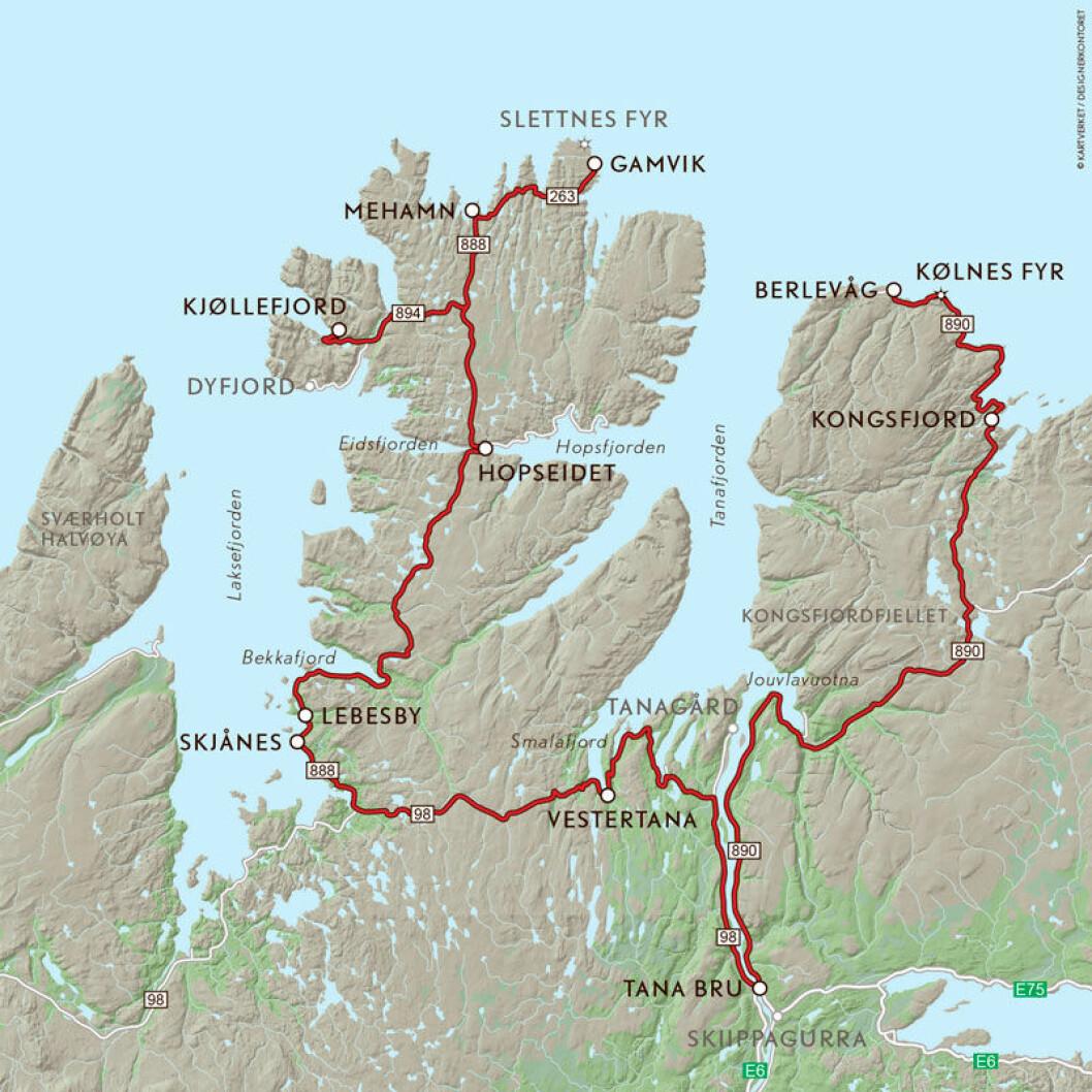 VEIFAKTA: Denne ruta følger FV894 fra Kjøllefjord til FV888 til Mehamn, også FV263 til Mehamn. Deretter tilbake på FV888 til Ifjord og FV98 til Tana Bru. Videre følges FV890 til Berlevåg. Strekningen er ca. 395 km og kjøretiden er 6 timer og 30 minutter ifølge NAF Ruteplanlegger.