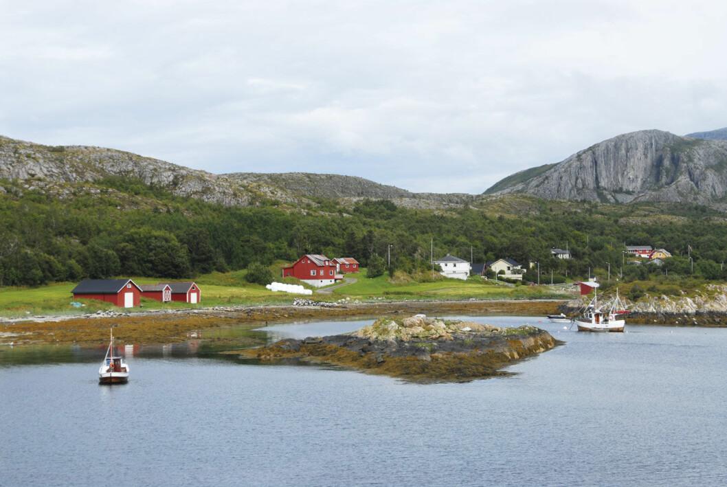EVENTYRFERGE: Fra Sør Gutvika kan du ta ferge ut til eventyrøya Leka, lengst nord på kysten i Trøndelag. Foto: Per Roger Lauritzen