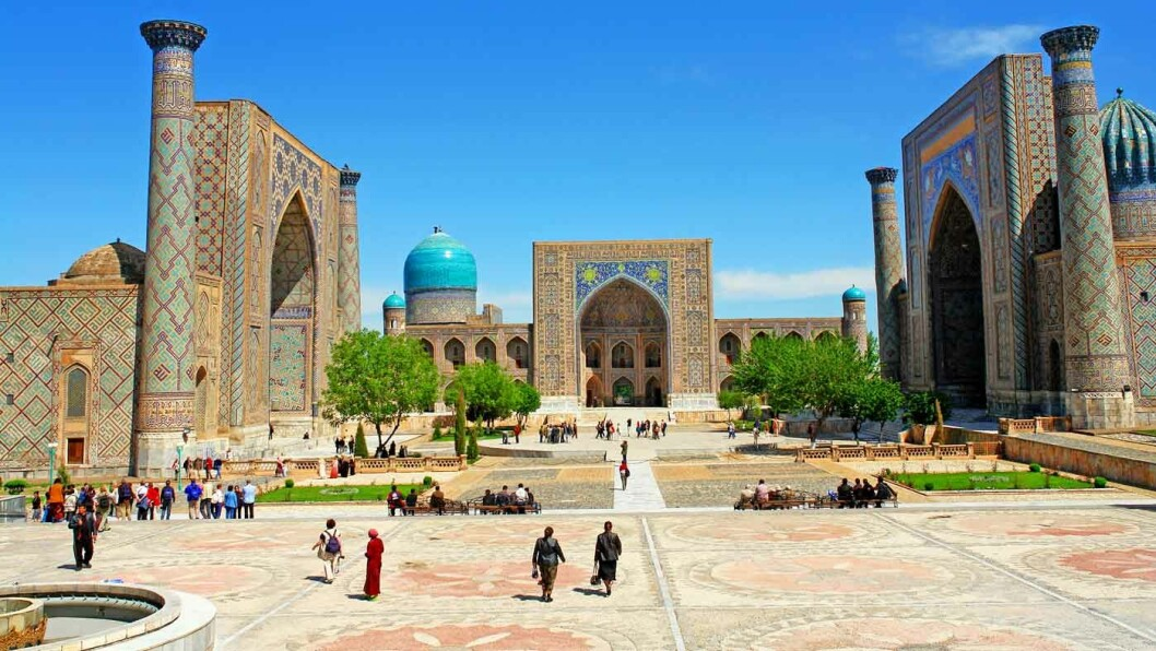 VERDENS VAKRESTE BY: Det var Samarkand kjent som, og Registan-plassen er kanskje noe av det som imponerer mest.