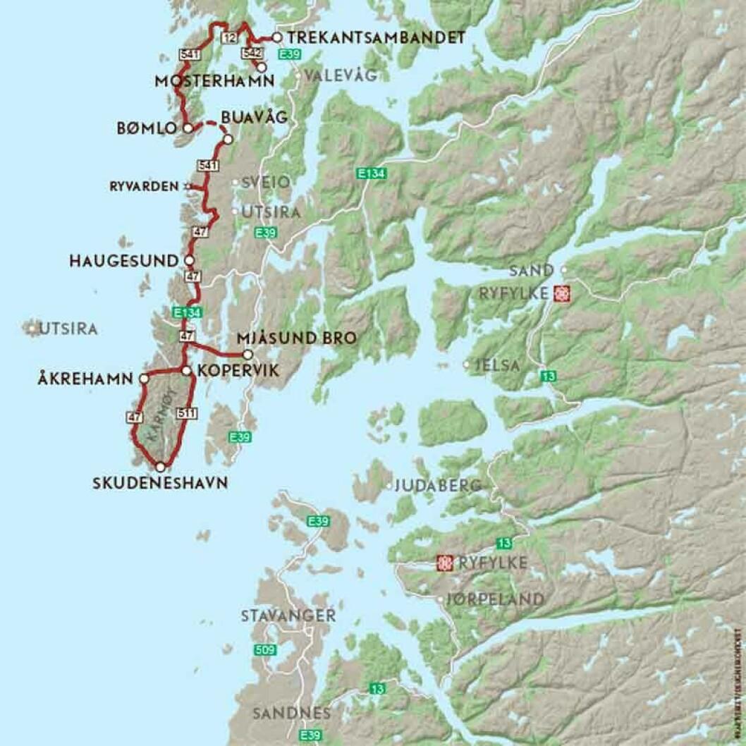 VEIFAKTA: Fra E39 ved Mjåsundbrua – FV47 Skudeneshavn – RV511 til Kopervik. Derfra FV47 til E134, og E134/FV47 til Haugesund. FV47 gjennom Haugesund til avkjøringen til FV541 og ferga Buavåg-Langevåg/FV541. 541 og 542 til E39 ved Trekantsambandet. Strekningen er ca. 146 kilometer og kjøretiden 3 timer og 22 minutter ifølge NAF Ruteplanlegger.
