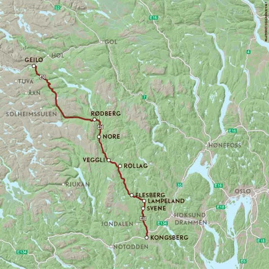 VEIFAKTA: Skal du fra Oslo til Geilo er korteste og raskeste vei langs RV7 gjennom Hallingdal, 219 km og 3 t og 14 min ifølge NAF ruteplanlegger. Veien gjennom Numedal, FV40 er 243 km og tar 3 t og 40 minutter. Denne ruta er en del av denne omveien og starter på Kongsberg og følger FV40 nordover til Geilo. Strekningen er ca. 160 kilometer og kjøretiden er 2 timer og 28 minutter ifølge NAF Ruteplanlegger.