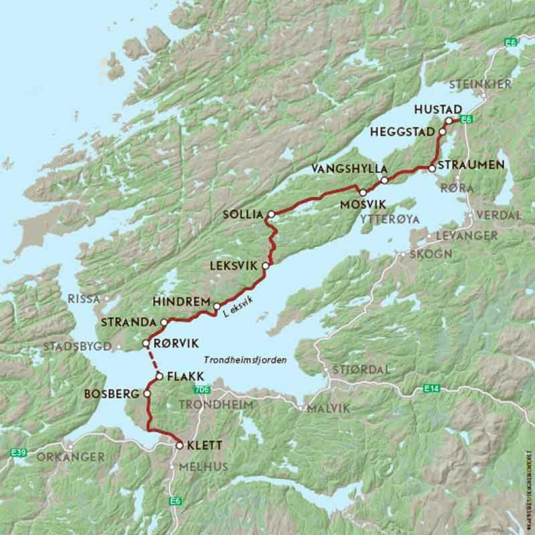 VEIFAKTA: Denne ruta starter fra E6 i Klett sør for Trondheim og følger FV707 til Flakk. Etter en fergetur over Trondheimsfjorden til Rørvika i Rissa fortsetter turen nordøstover i Nord-Trøndelag på FV715 og FV755 gjennom Leksvik og Inderøy kommuner til Straumen. Derfra følges FV761 til E6 i Steinkjer. Strekningen mellom Trondheim og Steinkjer langs denne ruta er ca. 143 km og kjøretiden er 3 timer, ikke inkludert fergeturen ifølge NAF Ruteplanlegger.