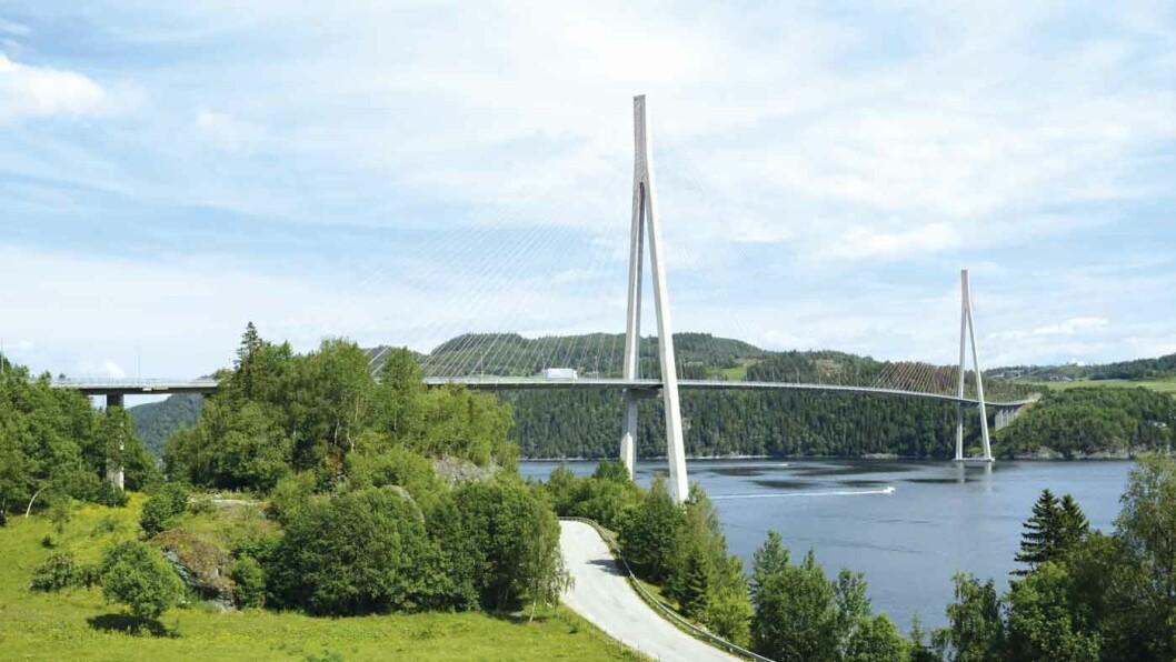 KATEDRALEN: Skarnsundbrua blir kalt Trondheimsfjordens katedral på grunn av sine flotte linjer. Foto: Per Roger Lauritzen