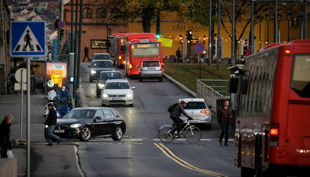 <b>BEGRENSET PLASS:</b> Rådhusgata i Oslo, en gang en av hovedstadens gjennomfartsårer.