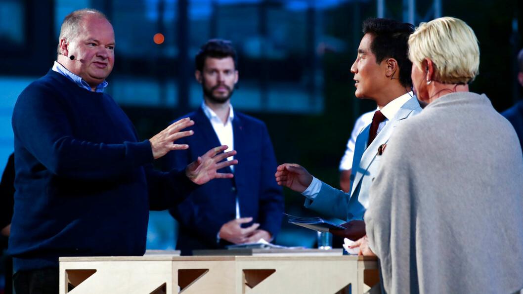 TIL ANGREP: FNBs Bergen-topp Trym Helge Aafløy i debatt med Siv Jensen (Frp) under Arendalsuka mandag kveld. Foto: Håkon Mosvold Larsen / NTB scanpix