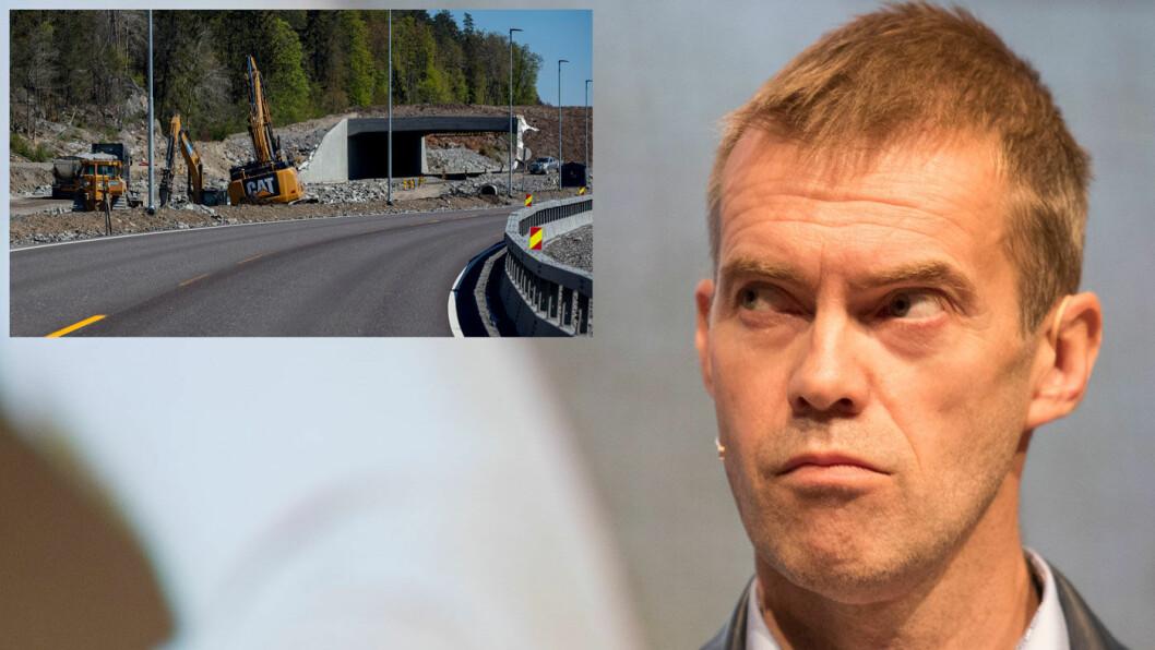 KLAR TALE: BI-professor Erling Røed Larsen mener han har oppskriften på hvordan vi bygger veier mest lønnsomt. –Smekk opp veien så fort det går, sier han. Men ofte er tempoet som på det lille bildet… Foto: Torstein Bøe, NTB scanpix/Geir Olsen (det lille bildet)