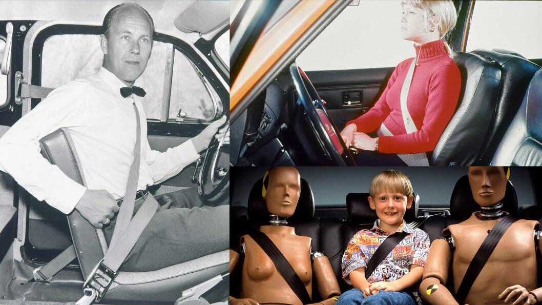 REVOLUSJON: På slutten av 50-tallet fikk Volvo patentert sitt trepunkts sikkerhetsbelte til bruk i bil. Beltet ble utviklet av Nils Bohlin (t.v.). I dag vet vi at anordningen har revolusjonert sikkerheten, men Volvo møtte mye skepsis de første årene. Foto: Volvo