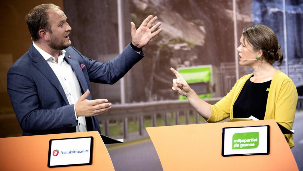 FRYKTER FOR BYPAKKER: MDGs talsperson Une Bastholm i debatt om bompenger med samferdselsminister Jon Georg Dale (Frp) under Arendalsuka sist tirsdag. Foto: Tomm W. Christiansen