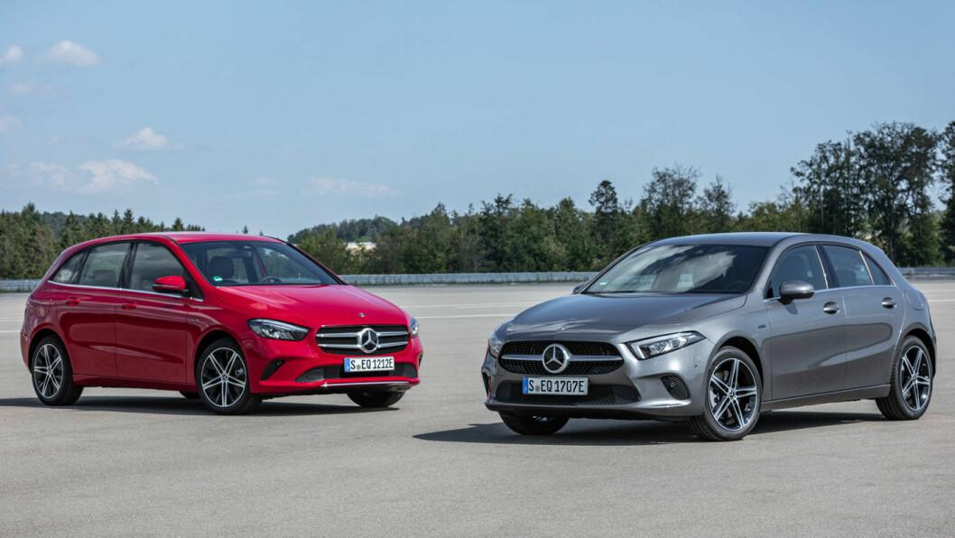 MER ENERGI: Mercedes A-klasse og den litt større B-klasse kommer nå som ladbare hybrider – som ganske sikkert vil løfte salget for de to minste modellene til merket. Foto: Daimler