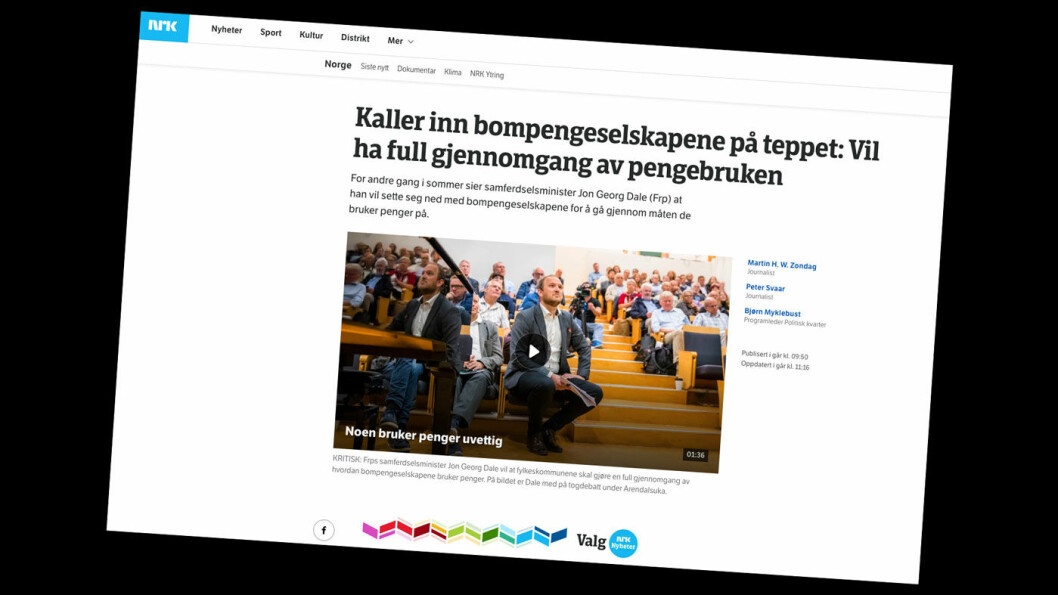 FEIL TALL? Faktisk.no hevder NRK regner feil i sin rapportering om økte kostnader i bompengebyråkratiet. Foto: Faksimile fra nrk.no