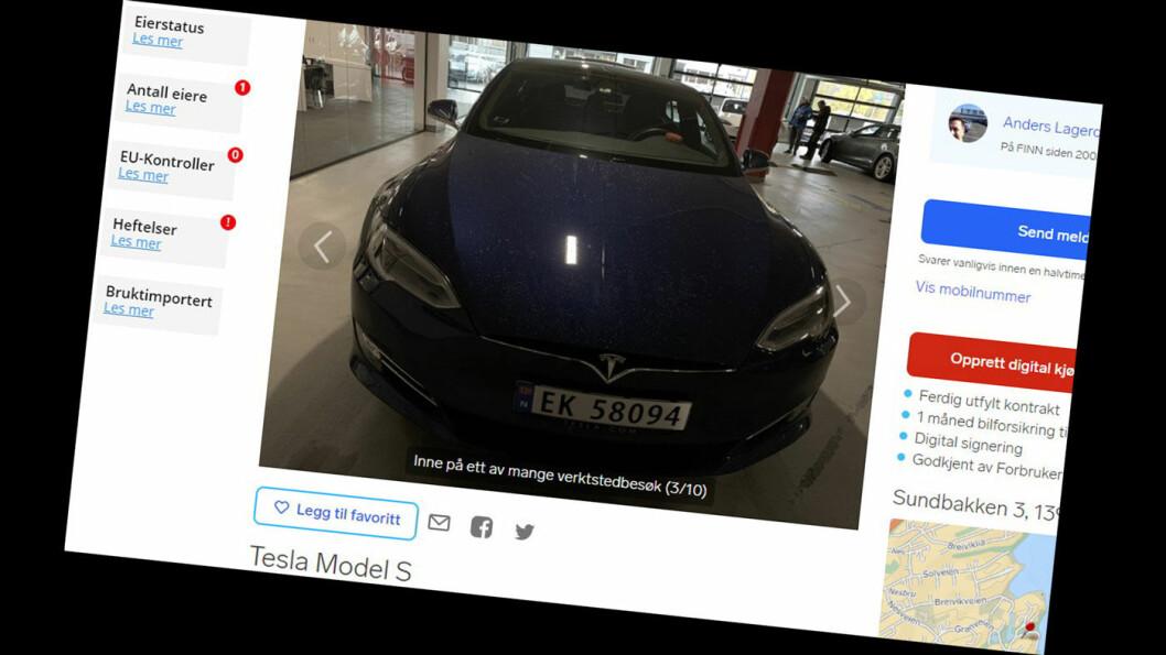 ÆRLIG: Ærlighet varer lengst, heter det. Men Teslaen til Anders er fortsatt for salg – selv om annonsen er klikket på 100 000 ganger. Foto: Faksimile Finn