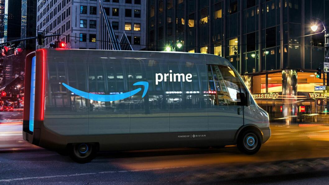STORORDRE: Amazon har bestilt 100.000 elektriske varebiler av denne typen fra den Rivian. Foto: Amazon/Rivian