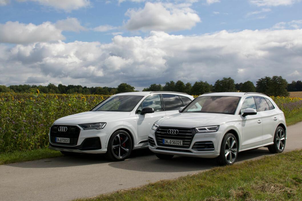 ELEGANSE OG VERDIGHET: Med oppdaterte, ladbare versjoner av Q7 og Q5 (t.h.) begynner Audi for alvor opptrappingen av sin elektriske produksjon. De skal ha 30 elektriske biler innen 2025. Foto: Peter Raaum