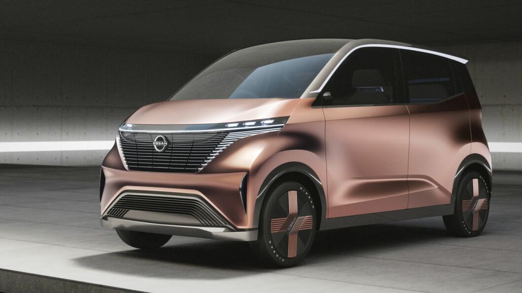 BYBIL: Nissan IMk er er bitteliten, helelektrisk, og beregnet på de store byene. Konseptbilen vises fram i Tokyo om tre uker.