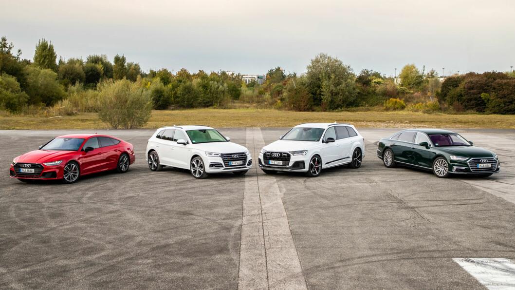 UTVIDER: Audis fire nye ladehybrider, A7, Q5, Q7 og A8 (t.h.).