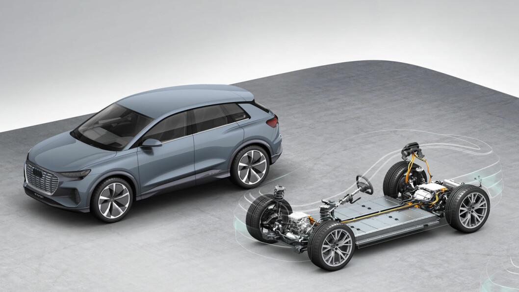 GJENNOMLYST: Dette er MEB-plattformen som Q4 bygges på. Prototypen vises foreløpig med 22 tommers dekk, regn med at bilen i produksjonsklar utgave er nærmere 19 tommer som e-tron. Foto: Audi AG