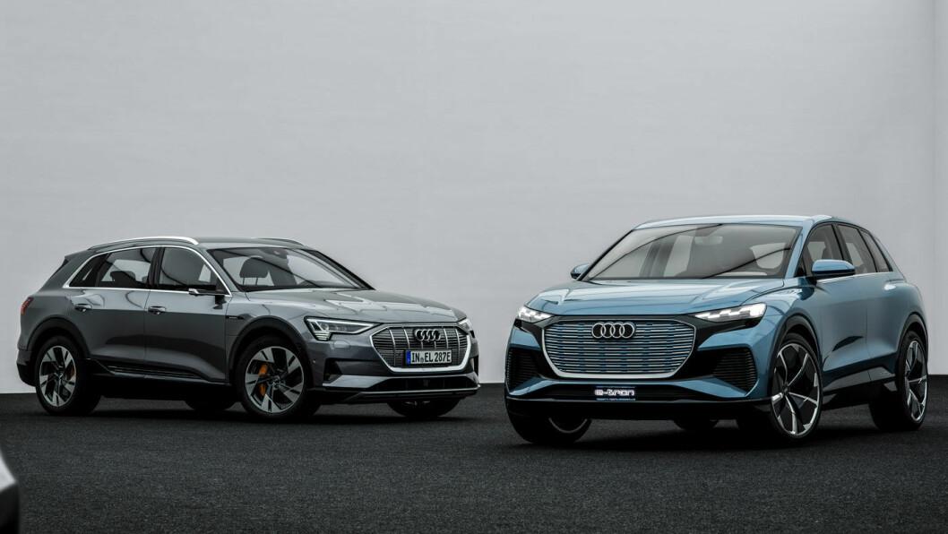DEN NESTE: Q4 (til høyre) er neste el-SUV ut fra Audi. Den vil være nesten 40 cm kortere enn e-tron 55 (t.v.), men grunnkonstruksjonen er så annerledes at kupéen ikke nødvendigvis vil oppleves som så mye mindre.
