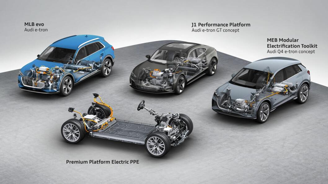 FIRE PLATTFORMER: Her er de fire plattformene som Audis elektriske biler skal bygges på. e-tron ble laget på MLB evo, Q4 og de øvrige volummodellene kommer på MEB, mens J1 og PPE er øremerket modellene i luksussegmentet.