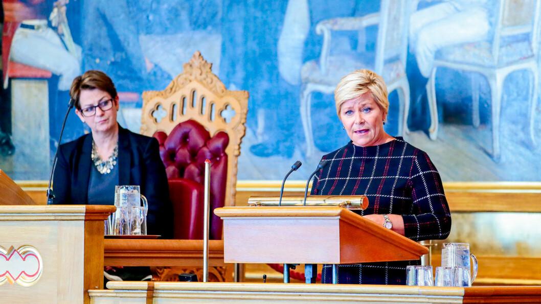 2020-TALLENE: Finansminister Siv Jensen under finanstalen i Stortinget. Foto: Håkon Mosvold Larsen, NTB / scanpix
