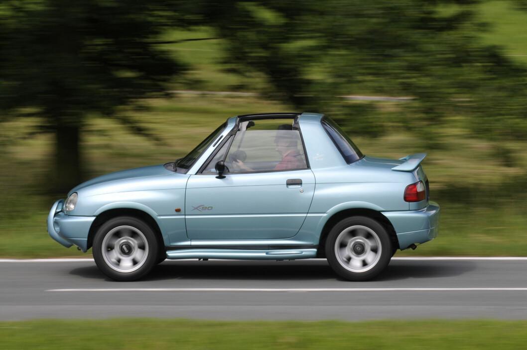 Suzuki X90 var stort sett ikke brukbar til noen ting, siden et reservehjul fylte så å si hele bagasjerommet. Etter bare to år stoppet Suzuki produksjonen. Foto: Suzuki