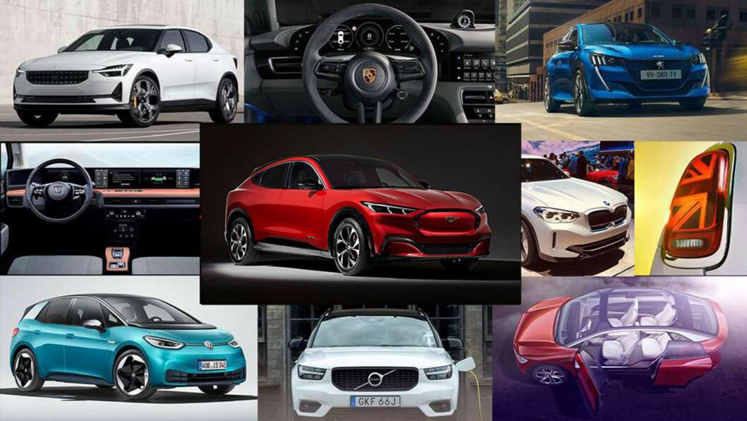 BESTSELGER-TIPS: Rundt Fords Mustang Mach-e finner duVW ID.3 (fra venstre nede), Honda e, Polestar 2, Porsche Taycan, Peugeot e-208, Mini Cooper SE, BMW iX3, VW ID.4 og Volvo XC40.