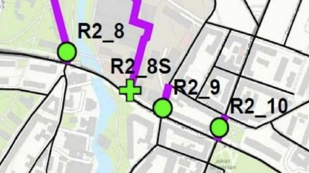 FORVARSEL: Dette var illustrasjonen beboerne fikk da de ble informert om plasseringene av bomstasjonene på nedre Torshov. Bomstasjonen i Sandakerveien er kalt «R2_9».