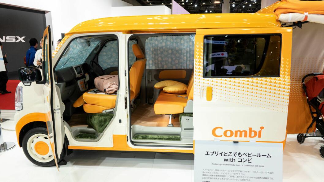 UT PÅ TUR: «Babyrommet som gjør at du kan dra hvor som helst», lokker Suzuki. Det spørs.