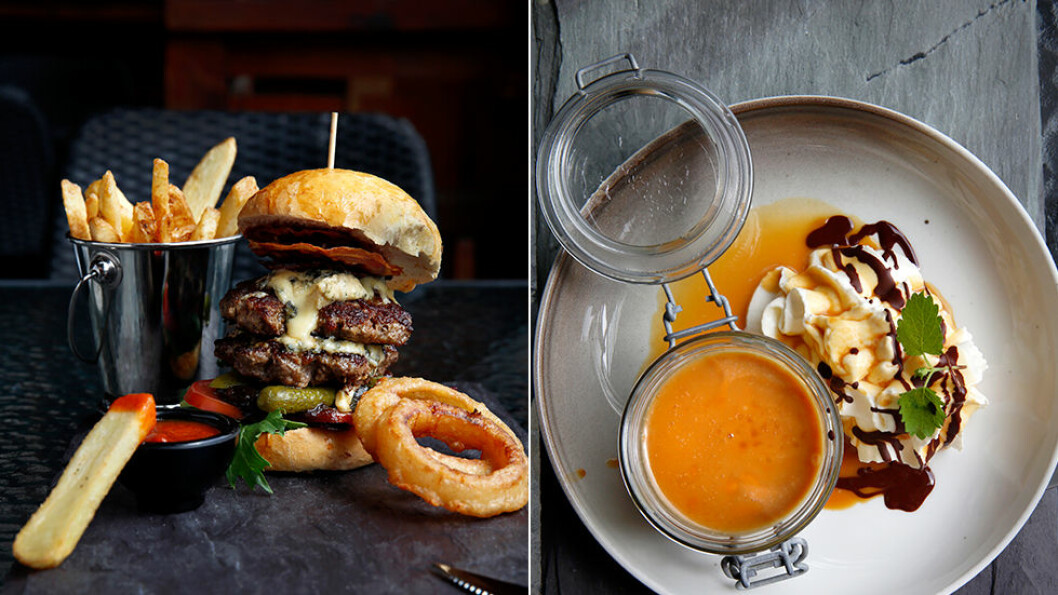 HJEMMELAGET OG GODT: Burgeren er laget av kjøtt fra okser som går ute og beiter i fjellet hele sommeren, og karamellpuddingen er naturligvis hjemmelaget.